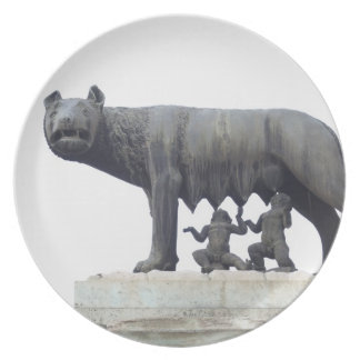 Estatua del lobo de Capitoline (cría del Ella-lobo Plato De Cena