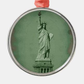 Estatua del ornamento del navidad de la libertad adorno navideño redondo de metal