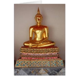 Estatua del oro de Buda Felicitación