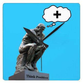 Estatua del pensador - piense el positivo relojes de pared