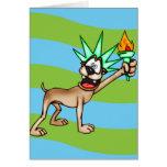 Estatua del perro del dibujo animado de la liberta felicitación