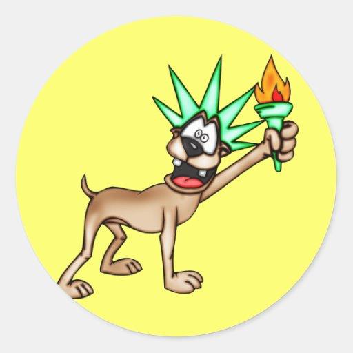 Estatua del perro del dibujo animado de la pegatinas redondas