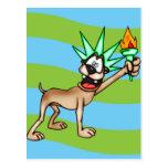 Estatua del perro del dibujo animado de la postal