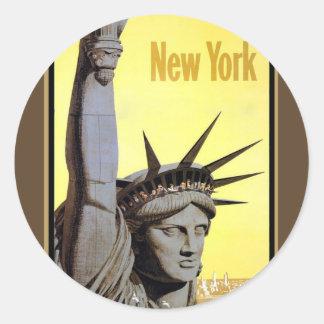 estatua del poster del viaje de Nueva York de la Pegatina Redonda