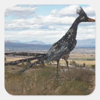 Estatua del Roadrunner Pegatina Cuadrada