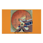 Estatua del tigre en un tejado de teja Ukiyo-e. Poster