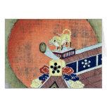 Estatua del tigre en un tejado de teja Ukiyo-e. Felicitaciones