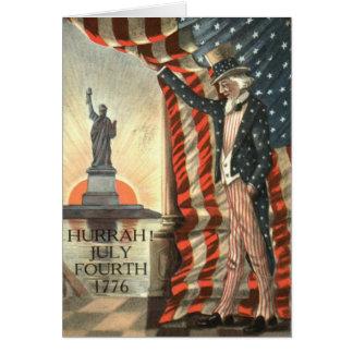 Estatua del tío Sam de la bandera de los E.E.U.U. Tarjeta De Felicitación