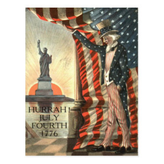 Estatua del tío Sam de la bandera de los E.E.U.U.  Tarjeta Postal
