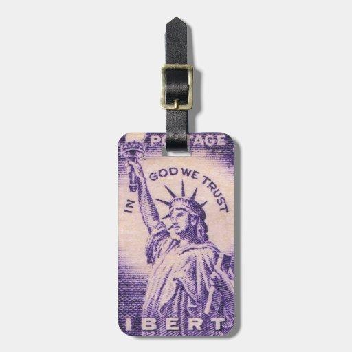 Estatua del vintage de la libertad etiquetas de equipaje