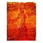 Estatua del vintage de las postales de Nueva York