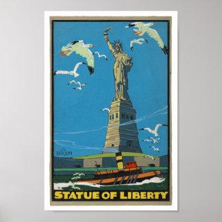 estatua del vintage de los años 20 de la libertad  póster