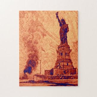 Estatua del vintage de New York City de la isla de Puzzle Con Fotos