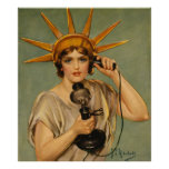 Estatua del vintage del anuncio patriótico de la g poster