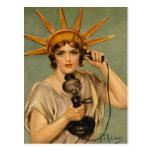 Estatua del vintage del anuncio patriótico de la g tarjetas postales