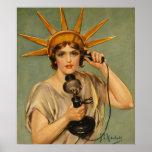 Estatua del vintage del anuncio patriótico de la poster