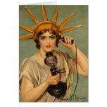 Estatua del vintage del anuncio patriótico de la tarjetón