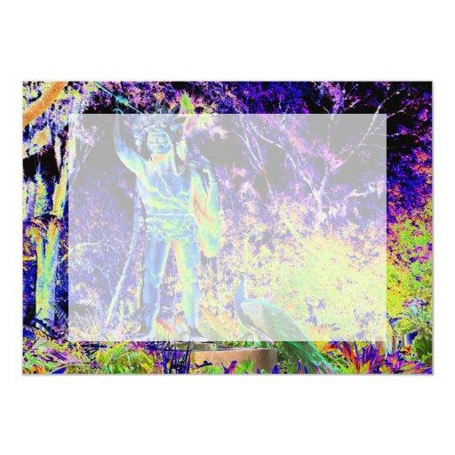 estatua e imagen colorida fresca solarized pavo invitaciones personalizada