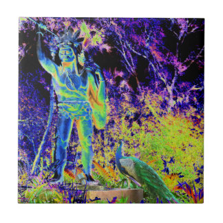 estatua e imagen colorida fresca solarized pavo re teja cerámica