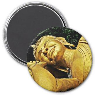 Estatua el dormir Buda Imán Redondo 7 Cm