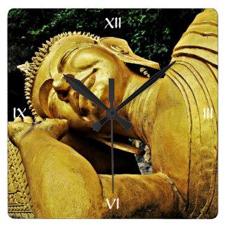 Estatua el dormir Buda Reloj Cuadrado