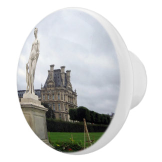 Estatua en los argumentos del Louvre - botón Pomo De Cerámica