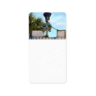 estatua esquelética del pirata del cráneo sobre la etiqueta de dirección