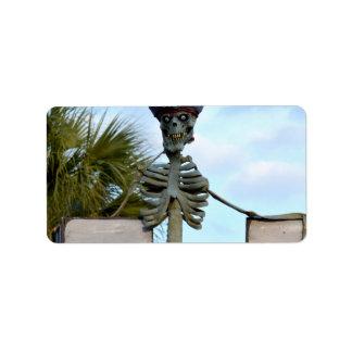 estatua esquelética del pirata del cráneo sobre la etiquetas de dirección
