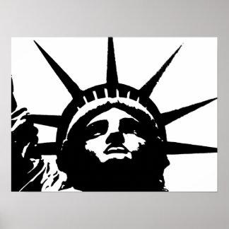 Estatua negra y blanca de arte pop del poster de