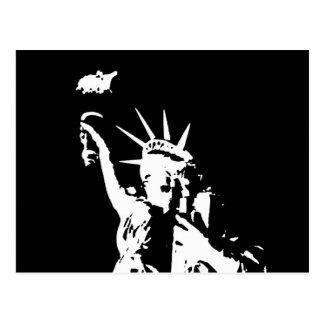 Estatua negra y blanca de la silueta de la postales