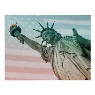 Estatua of Liberty en frente of American Flag