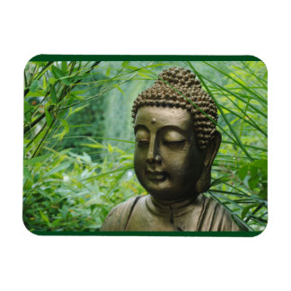 Estatua pacífica de Buda en un bosque verde Imán Rectangular