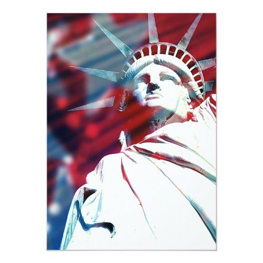 """Estatua patriótica de los E.E.U.U. de la Invitación 5"""" X 7"""""""