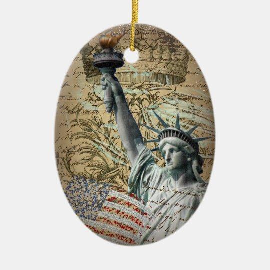 Estatua patriótica de NewYork del vintage de la Adorno Navideño Ovalado De Cerámica