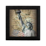 Estatua patriótica de NewYork del vintage de la li Cajas De Recuerdo