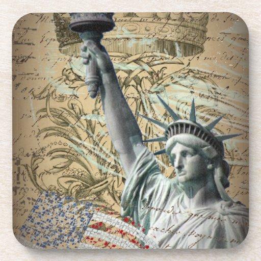 Estatua patriótica de NewYork del vintage de la li Posavaso