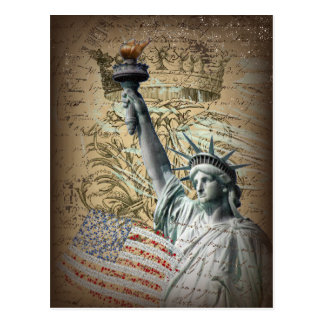 Estatua patriótica de NewYork del vintage de la li Tarjeta Postal
