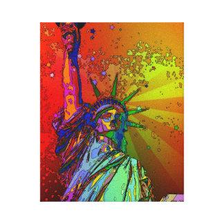 Estatua psicodélica del color del arco iris de NYC Impresión En Lona