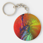 Estatua psicodélica del color del arco iris de NYC Llavero Redondo Tipo Pin