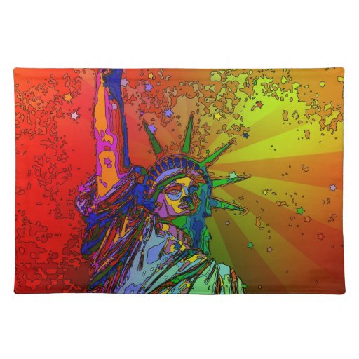 Estatua psicodélica del color del arco iris de NYC Manteles Individuales