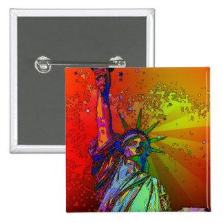 Estatua psicodélica del color del arco iris de NYC Pin Cuadrado