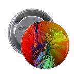 Estatua psicodélica del color del arco iris de NYC Pin Redondo 5 Cm
