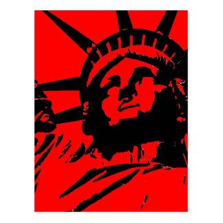 Estatua roja de arte pop de la libertad postales