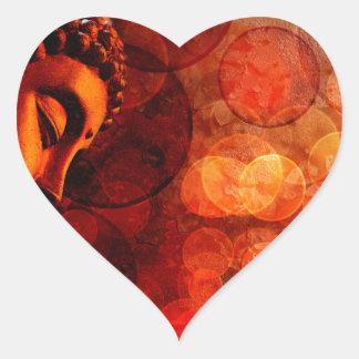 Estatua roja de bronce de Buda del zen Meditating Pegatina En Forma De Corazón
