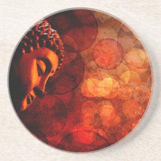 Estatua roja de bronce de Buda del zen Meditating Posavasos Manualidades