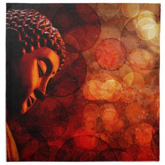 Estatua roja de bronce de Buda del zen Meditating Servilletas De Papel