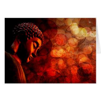 Estatua roja de bronce de Buda del zen Meditating Tarjeta De Felicitación