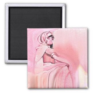 Estatua rosada imanes de nevera