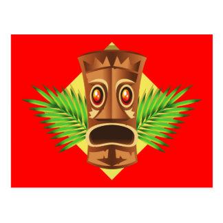 Estatua tropical de Tiki que aterroriza con las Postales