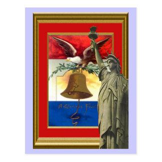 Estatua y campana de la libertad postal